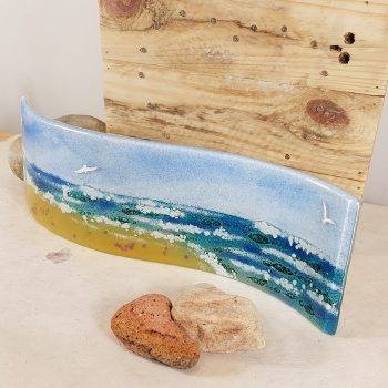 FUSED GLASS SEASCAPE AND GULLS PANEL