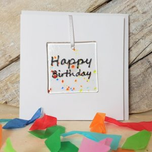 HAPPY BIRTHDAY Fused Glass Decoration in a Card,