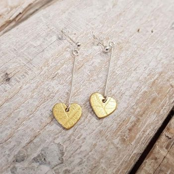 Brass Heart Drop Earrings