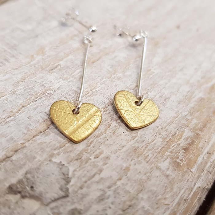 Brass Heart Drop Earrings