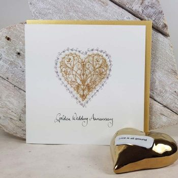 Golden Wedding Anniversary Embroidered Heart