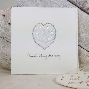 Pearl Wedding Anniversary Embroidered Heart