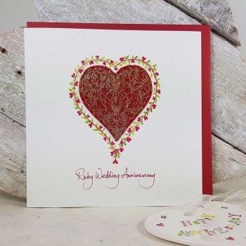 Ruby Wedding Anniversary Embroidered Heart