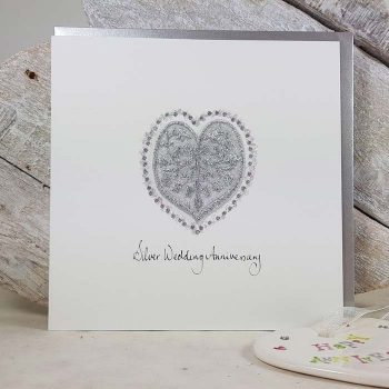 Silver Wedding Anniversary Embroidered Heart