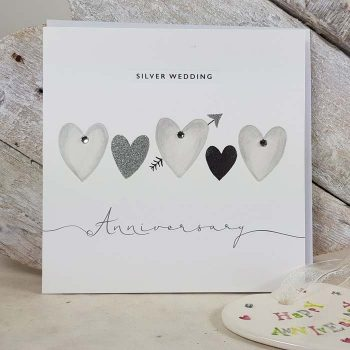 Silver Wedding Hearts Card