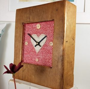 RUSTIC WOODEN CLOCK WITH HARRIS TWEED FACE ,  2