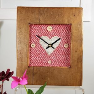 RUSTIC WOODEN CLOCK WITH HARRIS TWEED FACE ,