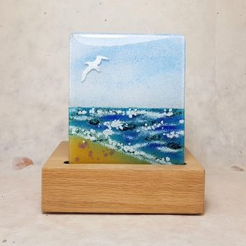 SAND AND SEA FUSED GLASS TEALIGHT HOLDER