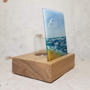 SAND AND SEA FUSED GLASS TEALIGHT HOLDER  image 2