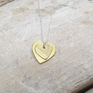 BRASS DOUBLE HEART PENDANT