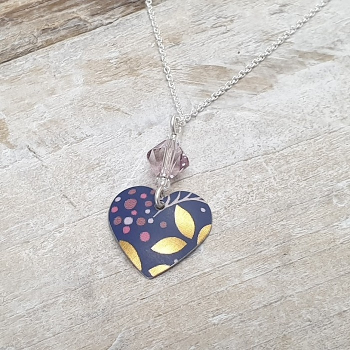 FLORAL HEART PENDANT WITH CRYSTAL 1