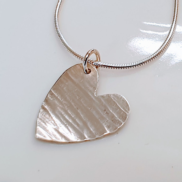 Larger Silver Heart Pendant Detail