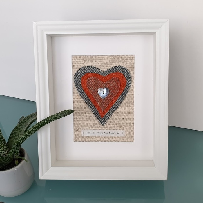 HARRIS TWEED HEART PICTURE, HOME IS WHERE THE HEART IS