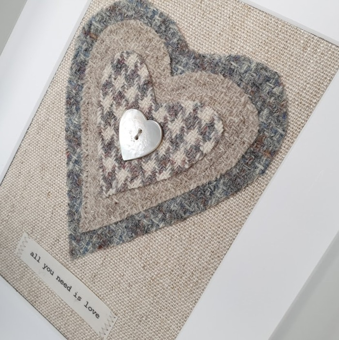 HARRIS TWEED HEART PICTURE…ALL YOU NEED IS LOVE DETAIL