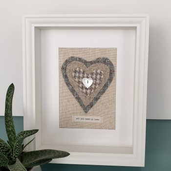 HARRIS TWEED HEART PICTURE...ALL YOU NEED IS LOVE MIXED BLUE GREY
