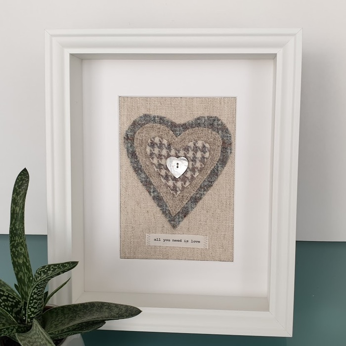 HARRIS TWEED HEART PICTURE…ALL YOU NEED IS LOVE MIXED BLUE GREY