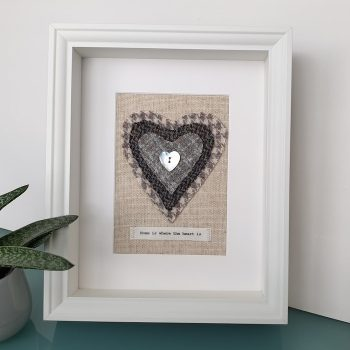 HARRIS TWEED HEART PICTURE...HOME IS WHERE THE HEART IS GREY HOUNDSTOOTH DES 1