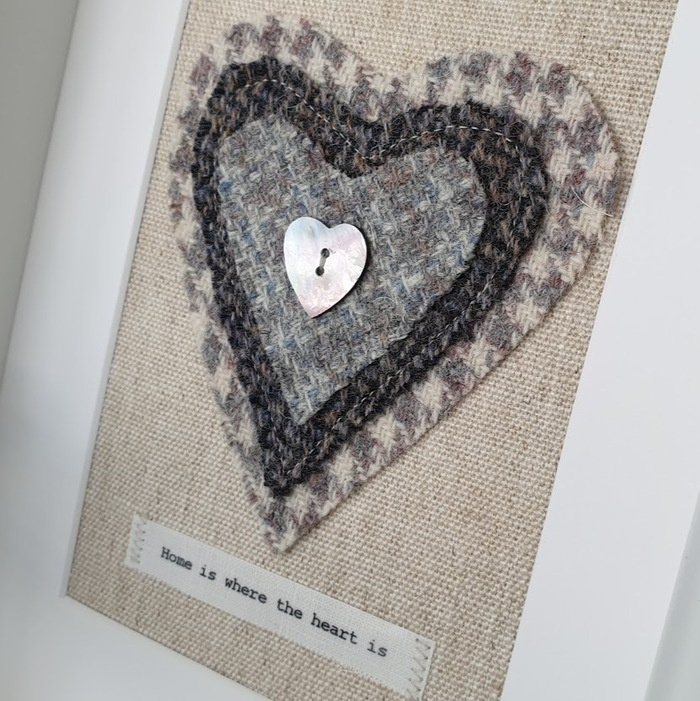 HARRIS TWEED HEART PICTURE…HOME IS WHERE THE HEART IS HOUNDSTOOTH DETAIL DES 1
