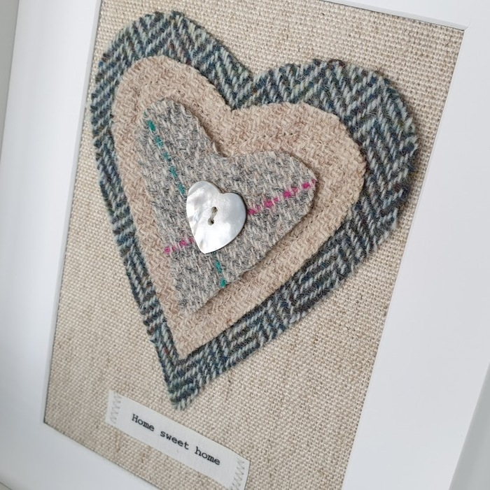 HARRIS TWEED HEART PICTURE…HOME SWEET HOME DETAIL