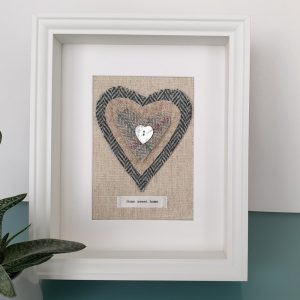HARRIS TWEED HEART PICTURE…HOME SWEET HOME PALE GREEN AND GREY