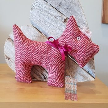 HARRIS TWEED SCOTTIE DOG RED HERRINGBONE