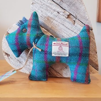 HARRIS TWEED SCOTTIE DOG TEAL CHECK