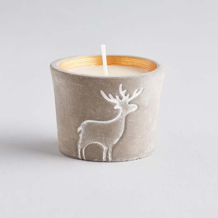 Orange & Cinnamon Scented Reindeer Candle Pot