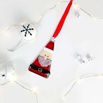 Santa Clause Glass Decoration