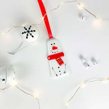 Snowman Glass Decoration