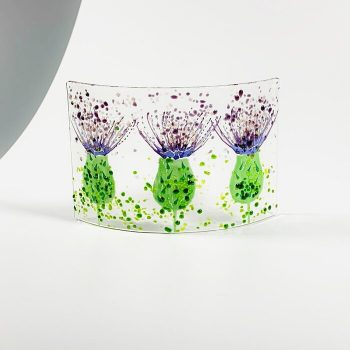 THREE THISTLE FUSED GLASS CURVE