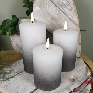 SET OF 3 LED FLICKERING CANDLES GREY OMBRE  DETAIL