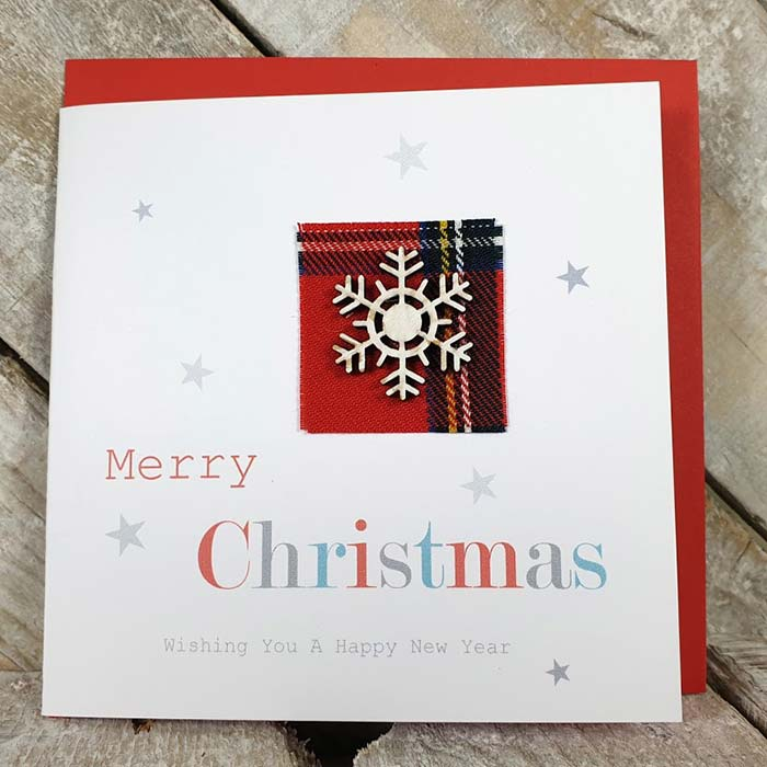 Handmade Christmas Card With Wooden Snowflake