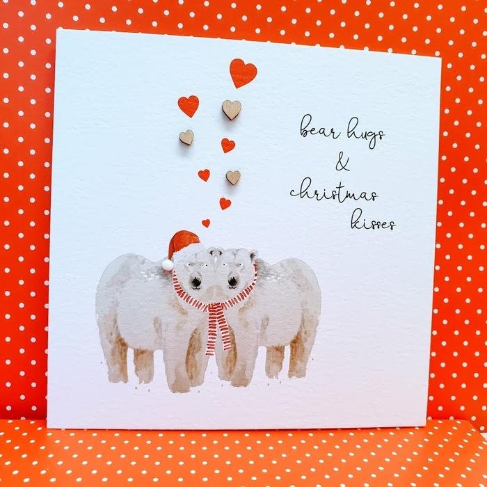 Bear Hugs and Christmas Kisses Card