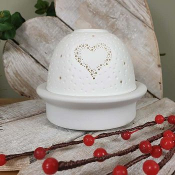 Porcelain Dome Tealight Holder With Led Base