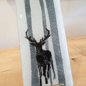 GLASS HANGING PANEL STAG IN THE FOREST, DETAIL