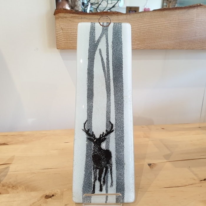 GLASS HANGING PANEL STAG IN THE FOREST