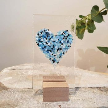 Small Glass Heart Panel Blue