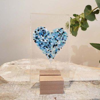 Small Glass Heart Panel Blue