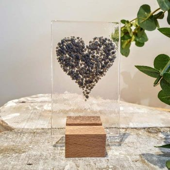 Small Glass Heart Panel Grey