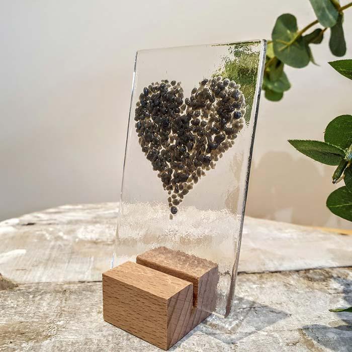 Small Glass Heart Panel Grey