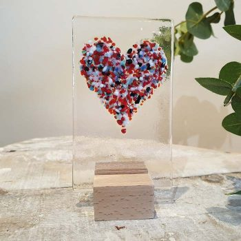 Small Glass Heart Panel Multicoloured