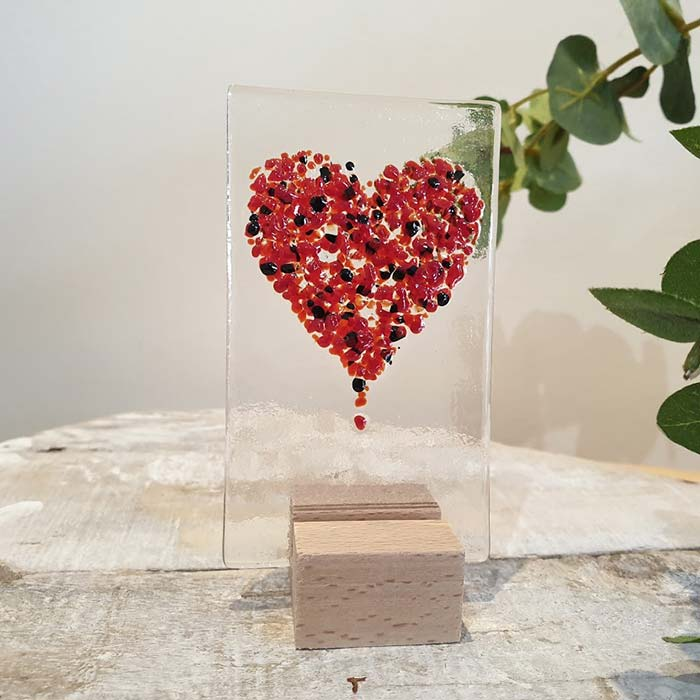 Small Glass Heart Panel Red