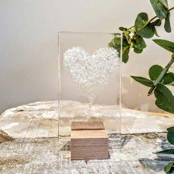 Small Glass Heart Panel White