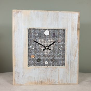 RUSTIC WOODEN CLOCK WITH HARRIS TWEED FACE BLUECHECKH