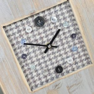 RUSTIC WOODEN CLOCK WITH HARRIS TWEED FACE DETAIL 2 GREYHOUND