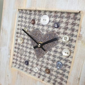 RUSTIC WOODEN CLOCK WITH HARRIS TWEED FACE DETAIL 2 GREYHOUNDHEART