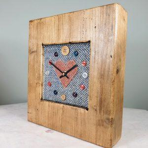 RUSTIC WOODEN CLOCK WITH HARRIS TWEED FACE DETAIL BLUEHERRUSTH