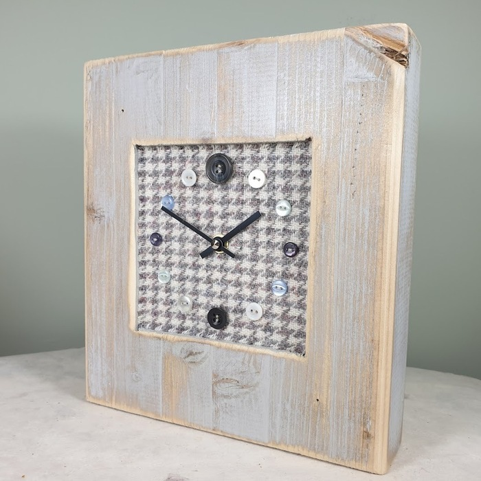 RUSTIC WOODEN CLOCK WITH HARRIS TWEED FACE DETAIL GREYHOUND