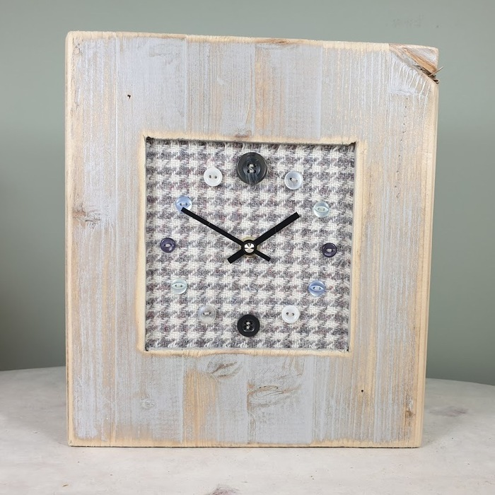 RUSTIC WOODEN CLOCK WITH HARRIS TWEED FACE GREYHOUND