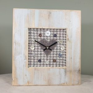 RUSTIC WOODEN CLOCK WITH HARRIS TWEED FACE GREYHOUNDHEART